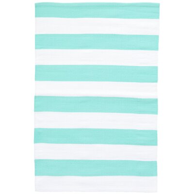 Catamaran Stripe Blue/White Indoor/Outdoor Area Rug Rug Size: 2 x 3