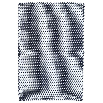 Two-Tone Rope Navy/White Indoor/Outdoor Area Rug Rug Size: Runner 26 x 12