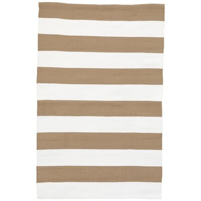 Catamaran Khaki/White Indoor/Outdoor Area Rug Rug Size: Runner 26 x 8
