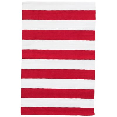 Catamaran Red/White Indoor/Outdoor Area Rug Rug Size: 2 x 3
