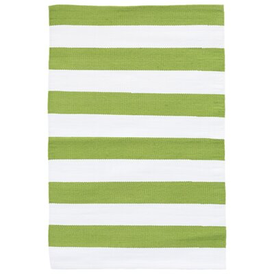 Catamaran Green/White Indoor/Outdoor Area Rug Rug Size: Runner 26 x 8