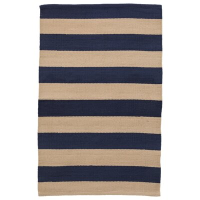 Catamaran Stripe Navy/Khaki Indoor/Outdoor Area Rug Rug Size: Runner 26 x 8