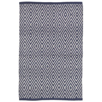 Diamond Blue/White Indoor/Outdoor Area Rug Rug Size: Runner 26 x 8
