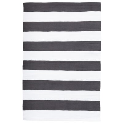 Catamaran Stripe Grey/White Indoor/Outdoor Area Rug Rug Size: 2 x 3