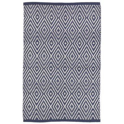 Diamond Navy Blue/White Indoor/Outdoor Area Rug Rug Size: 6 x 9