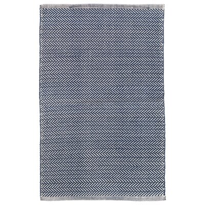 Herringbone Navy/Ivory Indoor/Outdoor Area Rug Rug Size: 10 x 14