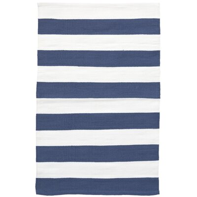 Catamaran Stripe Blue/White Indoor/Outdoor Area Rug Rug Size: 5 x 8