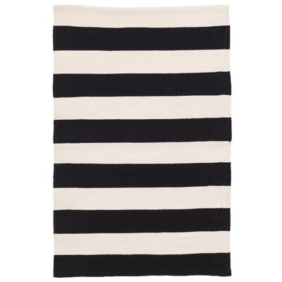 Catamaran Stripe Black/Off-White Indoor/Outdoor Area Rug Rug Size: 5 x 8