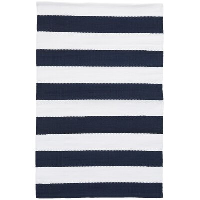 Catamaran Navy/White Indoor/Outdoor Area Rug Rug Size: Runner 26 x 12
