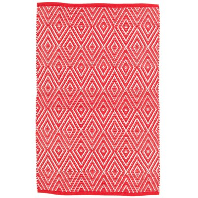 Diamond Red/White Indoor/Outdoor Area Rug Rug Size: 2 x 3