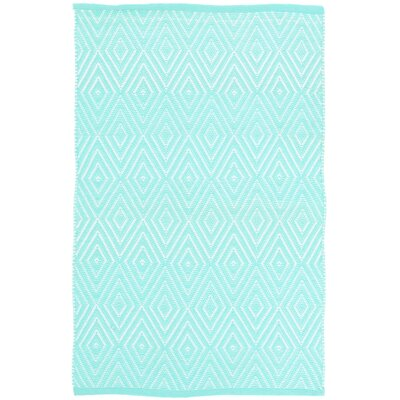 Diamond Aqua/White Indoor/Outdoor Area Rug Rug Size: 2 x 3