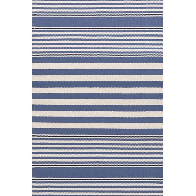 Rugby Stripe Hand Woven Blue Indoor/Outdoor Area Rug