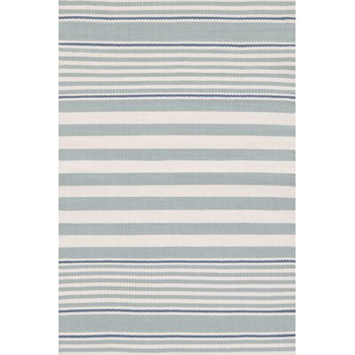 Rugby Stripe Hand Woven Gray Indoor/Outdoor Area Rug