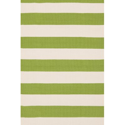 Catamaran Hand-Woven Green/White Indoor/Outdoor Area Rug