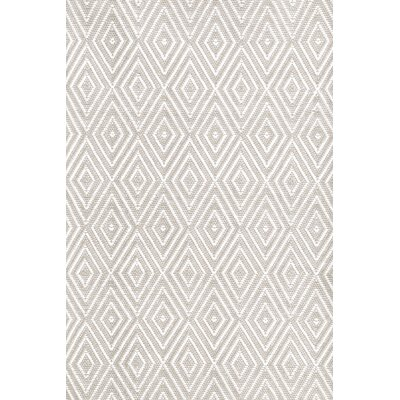 Diamond Hand-Woven Platinum/White Indoor/Outdoor Area Rug Rug Size: Rectangle 6 x 9