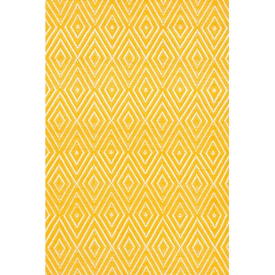 Diamond Hand Woven Yellow Indoor/Outdoor Area Rug
