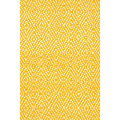 Diamond Hand Woven Yellow Indoor/Outdoor Area Rug