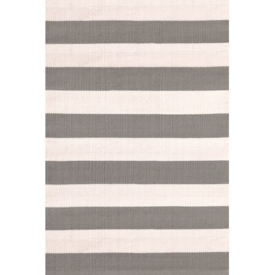 Catamaran Hand-Woven Gray/White Indoor/Outdoor Area Rug Rug Size: 4' x 6'