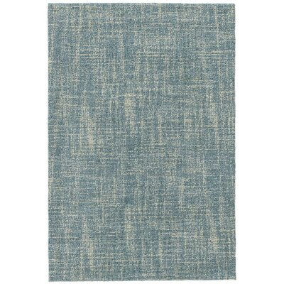 Crosshatch Micro Hand- Hooked Wool Blue Area Rug Rug Size: Runner 25 x 8