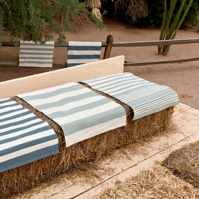 Indoor/Outdoor Denim/Ivory Outdoor Area Rug Rug Size: Runner 26 x 8
