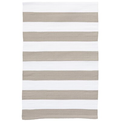 Catamaran Stripe Gold/White Indoor/Outdoor Area Rug Rug Size: 4 x 6