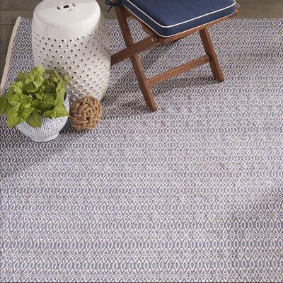 Fair Isle French Hand-Woven Cotton Blue/Ivory Area Rug Rug Size: Runner 25 x 8