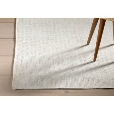 Herringbone Hand Woven Sky Blue Area Rug Rug Size: Sample 1'6