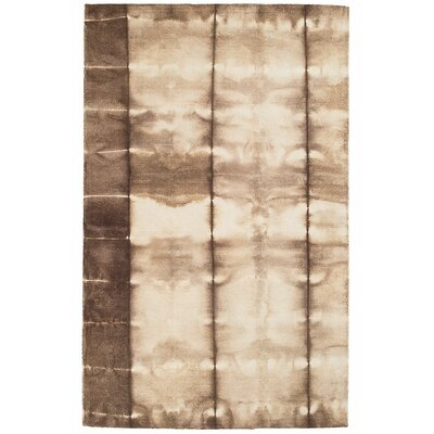 Bano Hand Hooked Wool Brown/White Area Rug Rug Size: 8 x 10