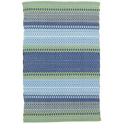 Fiesta Stripe French Blue/Green Indoor/Outdoor Area Rug Sample