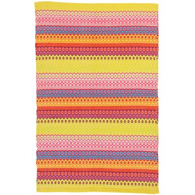 Fiesta Stripe Yellow/Blue Indoor/Outdoor Area Rug Rug Size: 2 x 3