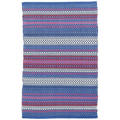 Fiesta Stripe Blue/Red Indoor/Outdoor Area Rug Sample