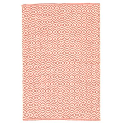 Lattice Coral Woven Cotton Area Rug Sample