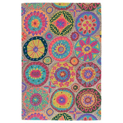 Merry Go Round Bright Micro Hooked Wool Area Rug Sample