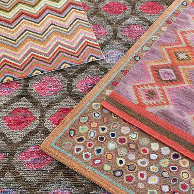 Gem Hand Knotted Brown/Pink Area Rug Rug Size: 5 x 8