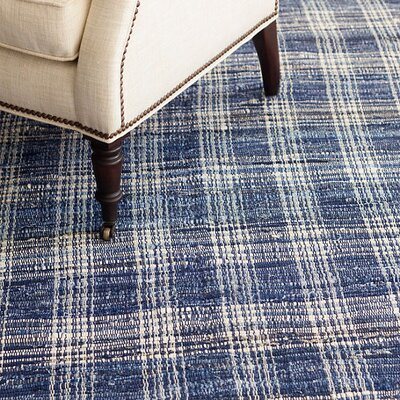 Denim Plaid Woven Cotton Area Rug Sample