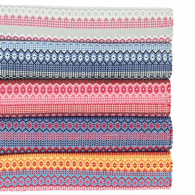 Fiesta Stripe Sky/Fuchsia Indoor/Outdoor Area Rug Rug Size: 25 x 8