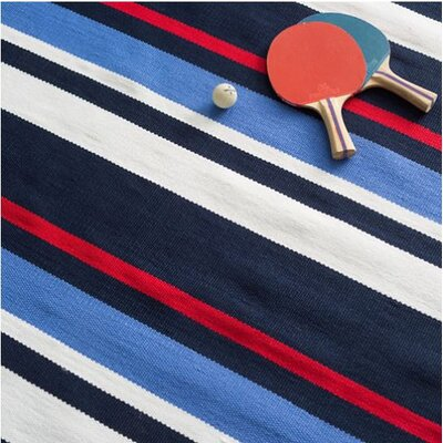 Regatta Stripe Blue/White Indoor/Outdoor Area Rug Rug Size: 25 x 18