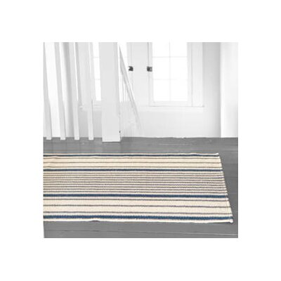 Hand Woven Cotton Blue/Ivory Area Rug Rug Size: 6 x 9