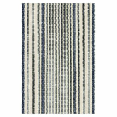Hand Woven Blue/Ivory Area Rug Rug Size: 4 x 6