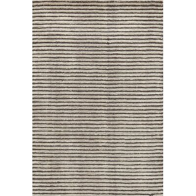 Cut Stripe Knotted Grey Area Rug