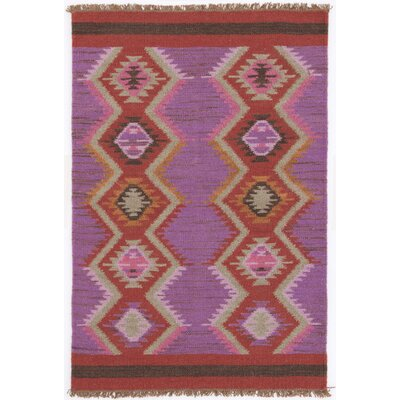Hand Woven Purple/Red Area Rug Rug Size: 3 x 5