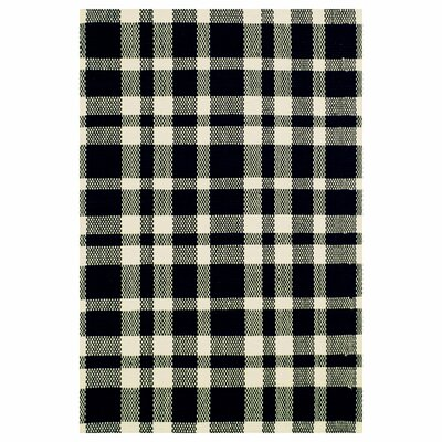 Hand Woven Cotton Black Area Rug Rug Size: 6 x 9