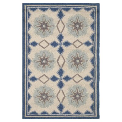Hooked Blue/Ivory Area Rug Rug Size: Runner 26 x 8