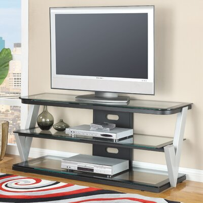 Image of Hazelwood Home Contemporary TV Stand in Black and Silver (HMC1918)