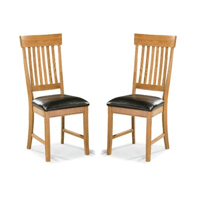 Family Slatback Genuine Leather Upholstered Dining Chair (Set of 2)