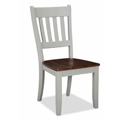 Small Space Slat Back Solid Wood Dining Chair (Set of 2)