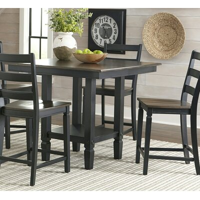 Marchan Square Pub Table Color: Black