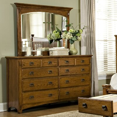 Pasilla 8 Drawer Double Dresser with Mirror