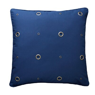 Textured Grommeted Cotton Throw Pillow Size: 18 x 18, Color: Navy / Antique