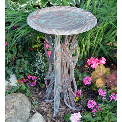 Dragonfly Birdbath & Pedestal Finish: Copper Verdi